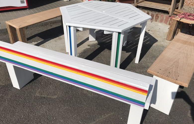 【店舗製作】六角形のテーブルの手直しばい