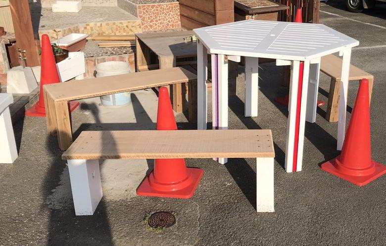 【店舗製作】六角形のテーブルのリメイクばい